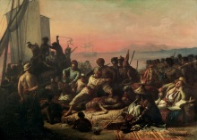 WHM112033 Slaves on the West Coast of Africa, c.1833 (oil on canvas) by Biard, Francois Auguste (1798-1882); 64x90 cm; © Wilberforce House, Hull City Museums and Art Galleries, UK; French,  out of copyright